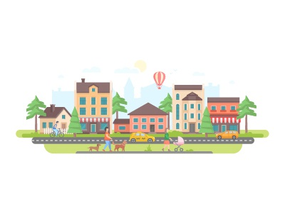 Small town flat design city summer small illustration people town