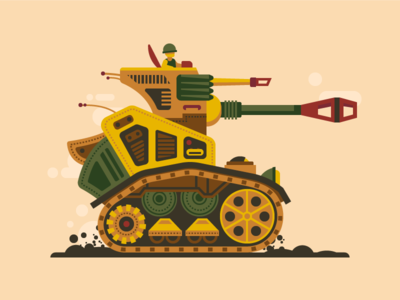 Tank illustration tank concept soldier flat design