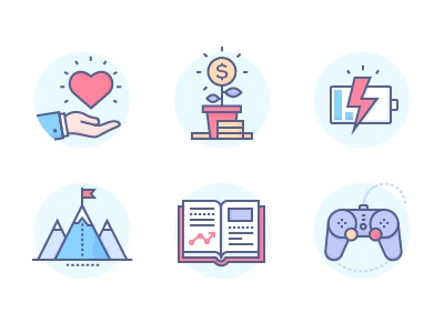 Icons icon line design essential business icons education online