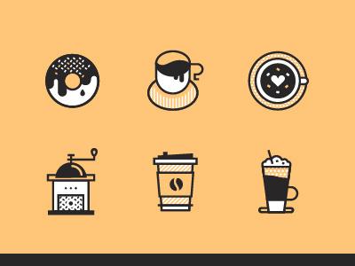 Coffeholic barista menu cafe espresso cappuccino mill grinder cezve latte donut coffee icon