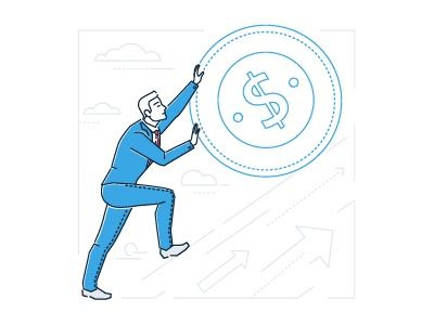 Businessman making money achievement goal benefit earn financial smart conceptual business vector illustration dollar line