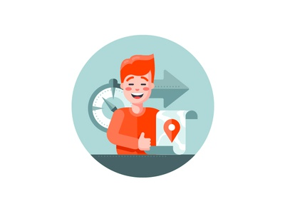 Cheerful tourist tag compass project navigation tourist travel character illustration flat