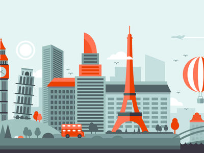 City tour style design flat illustration sightseeing landmark app mobile tourism project