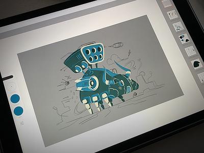 Robot bull vectorization tablet graphic variant flat style design vector process sketch bull robot