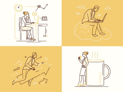 Business people manager work businesswoman businessman business illustration style design line