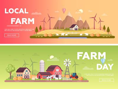 Organic farming vector banner eco organic farm style design flat