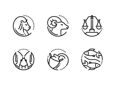 Zodiac signs horoscope vector collection linear set icon line symbol zodiac sign zodiac