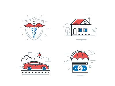 Insurance icons design vector car home custom design insurance company insurance icon icons set line design