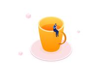 Coffee break isometric illustration