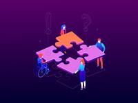 Teambuilding - isometric illustration