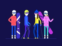 Ski resort - flat design style illustration