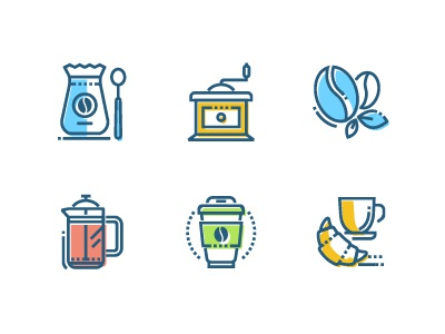 Coffee - icon set vector graphics breakfast drink set take away coffee bean coffee style line design icon