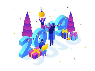 Happy New Year business winter holidays isometric design isometric 2019 vector style flat design illustration
