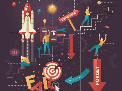 """Learning from failure"" - custom illustration design magazine custom illustration editorial style flat design illustration"