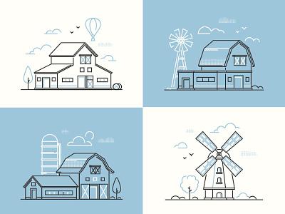 Farm buildings country eco barn windmill vector farm design line illustration