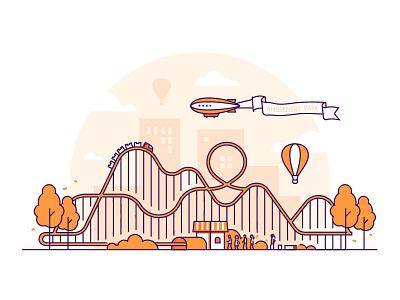 Amusement park funfair attraction amusement park vector style design line illustration