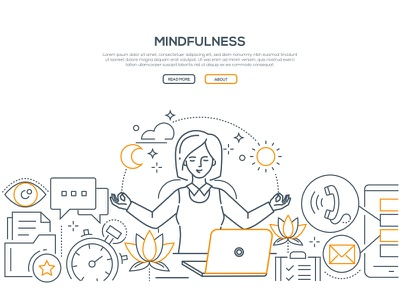 Mindfulness - web banner task businesswoman mindfulness banner web line design style line art composition character business vector illustration