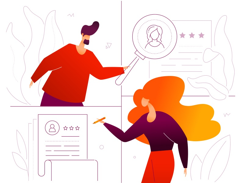 HR management vacancy candidate job search recruitment hr composition character vector business flat design illustration