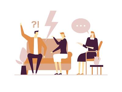 Family psychologist - flat illustration emotional problem couple shrink therapy family psychologist character vector style flat design illustration