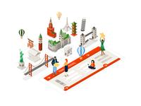 Travel around the world - isometric illustration