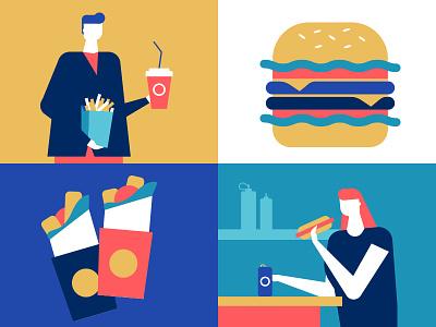 Street food - flat illustration boy girl french fries hamburger cafe street food fast food design character flat design style illustration