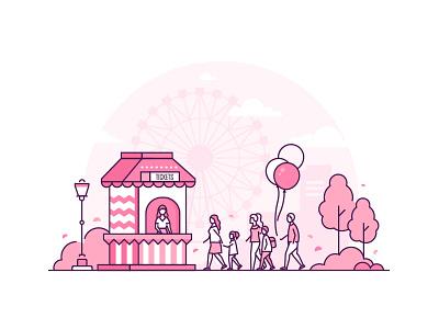 Amusement park concept - line illustration pink attraction big wheel funfair amusement park amusement style line vector design illustration