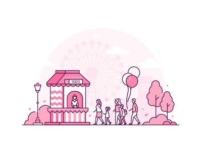 Amusement park concept - line illustration