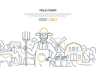Milk farm - line design style web banner cow web banner countryside product organic ecology eco farm milk style design line illustration
