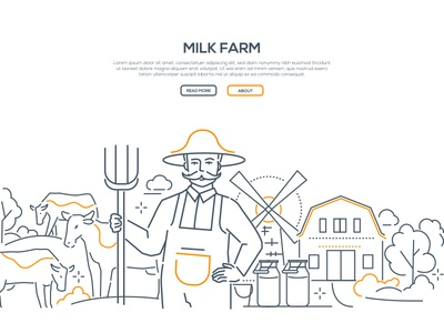 Milk farm - line design style web banner
