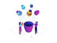 Happy Easter - isometric illustration