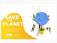 Save the planet - isometric banner