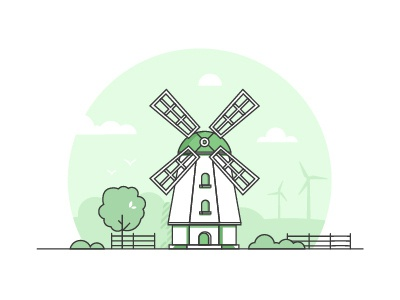 Windmill wind power landscape countryside line art windmill eco green line vector illustration