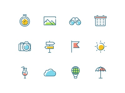 Thin line icons collection journey trip travel thin line icon vector style design