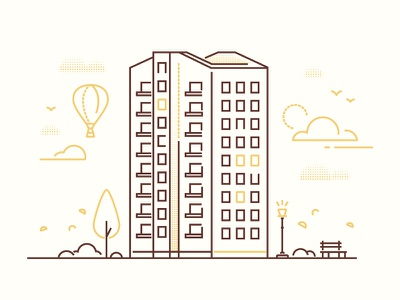 City life - line illustration facade urban lantern construction building city outline line design vector illustration