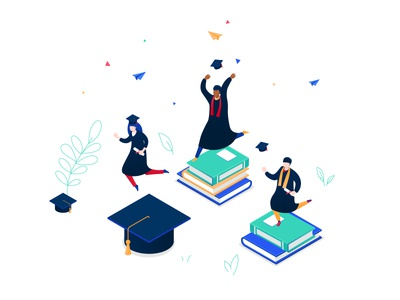 Graduation - isometric illustration