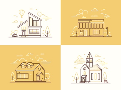 Town life illustrations landscape playground cityscape church building architecture town city outline line style design illustration