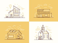 Town life illustrations