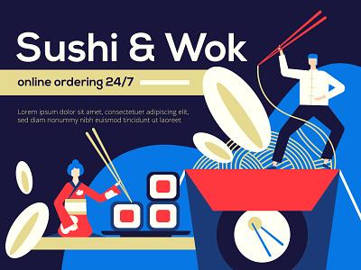Sushi and wok - illustration order online restaurant food sushi wok composition character style vector flat design illustration
