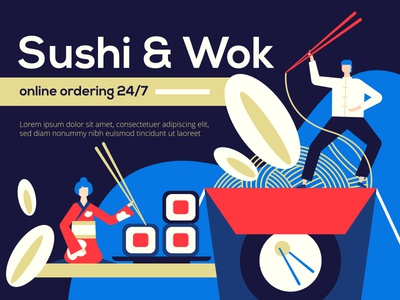 Sushi and wok - illustration