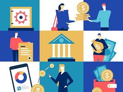 Bank operations - illustration payment money finance bank character business vector flat design design illustration