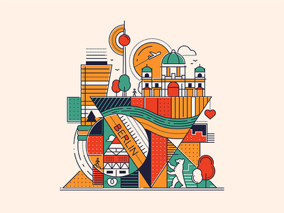 Berlin city illustration travel germany berlin landmark line illustration flat design