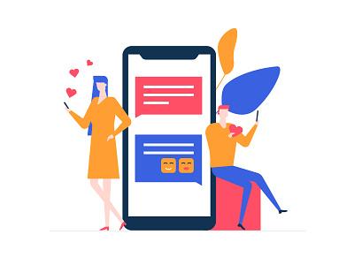 Dating app illustration online chatting smartphone mobile dating app dating composition flat character style flat design illustration