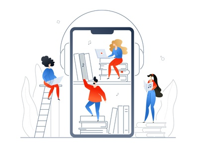 Audiobooks - flat illustration