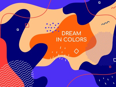 Dream in colors abstract backgroud retro memphis background abstract composition vector flat design style design illustration