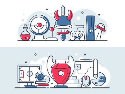 Games and esports linear illustrations entertainment controller gamepad videogame game esport line icon vector style design illustration
