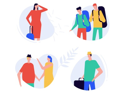 Tourists - flat design style vector characters vacation camping tourism travel composition character vector flat design style design illustration