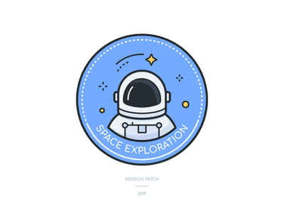 Space exploration icon line art patch mission astronaut dribbleweeklywarmup exploration space icon illustration vector style design