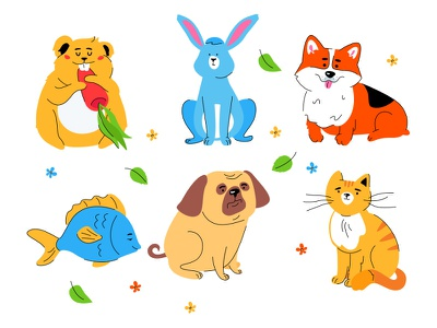 Cute pets collection fish hamster breed rabbit cat dog cute animal pet vector character style design illustration