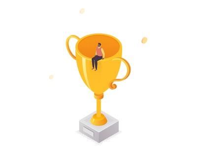 Business situations  - isometric illustrations trophy award victory businessman line composition character business vector style design illustration