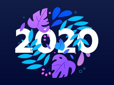 New year 2020 leaves decoration ornament floral 2020 new year flat design style design illustration